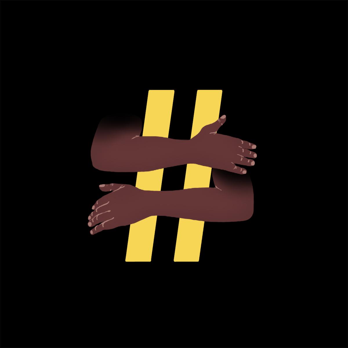 Ilustración de un hashtag abrazado por unos brazos negros en honor al #BlackOutTuesday